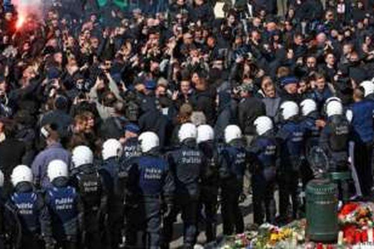 Demonstrasi kelompok ultra-konservatif di Brussels, Belgia