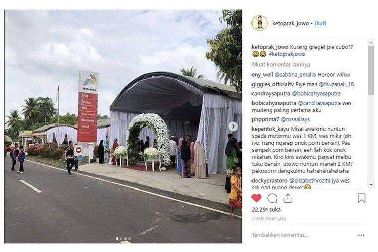 Beredar luas di media sosial tentang foto pernikahan di SPBU.