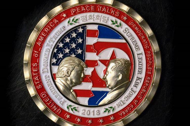 Inilah gambar koin yang beredar jelang pertemuan bersejarah antara Presiden Amerika Serikat Donald Trump, dan Pemimpin Tertinggi Korea Utara Kim Jong Un pada 12 Juni nanti di Singapura.