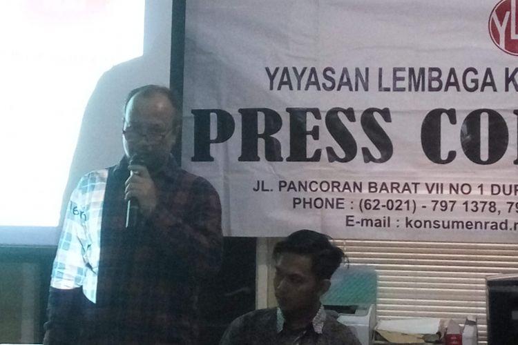 Ketua harian YLKI Tulus Abadi saat di Jakarta, Jumat (25/1/2019).