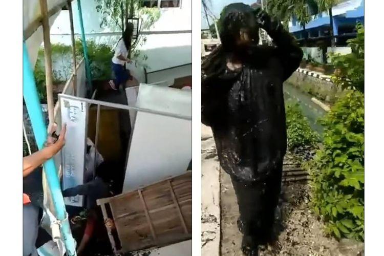 Tangkapan layar video viral warung makan di Pati ambruk sebabkan 15 orang tercebur ke selokan.