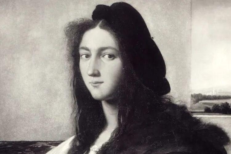Gambar foto hitam-putih asli dari karya Raphael Portrait of A Young Man yang hilang. [Wikimedia Commons Via History]