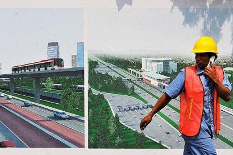 Pekerja melintas dekat proyek sistem transportasi kereta ringan (light rail transit/LRT) yang diresmikan pembangunannya dengan peletakan batu pertama oleh Presiden Joko Widodo di kawasan Taman Mini Indonesia Indah, Jakarta, Rabu (9/9/2015). Pembangunan dua koridor awal LRT, yakni Cibubur-Cawang-Dukuh Atas sepanjang 24,2 kilometer (km) dan rute Bekasi Timur-Cawang-Dukuh Atas sepanjang 17,9 km, membutuhkan anggaran Rp 23,8 triliun dan ditargetkan selesai dalam waktu tiga tahun.