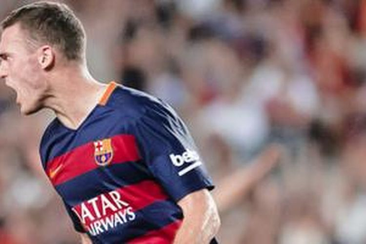 Thomas Vermaelen cetak gol kemenangan Barcelona atas Malaga, Sabtu (29/8/2015).