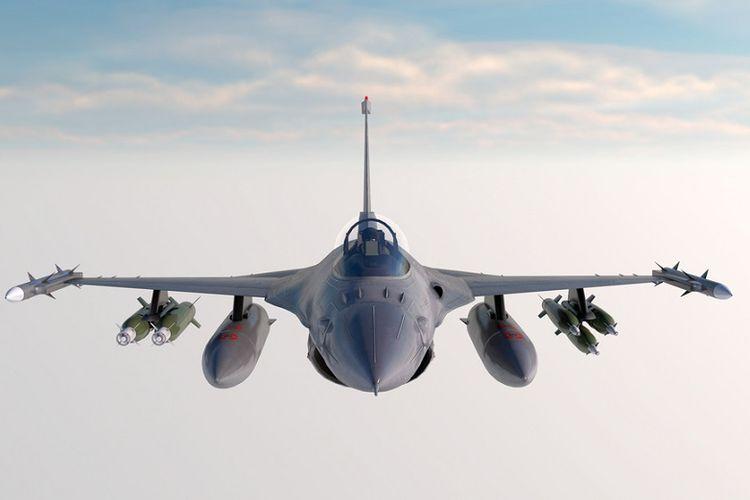 Ilustrasi jet tempur F-16 AS.