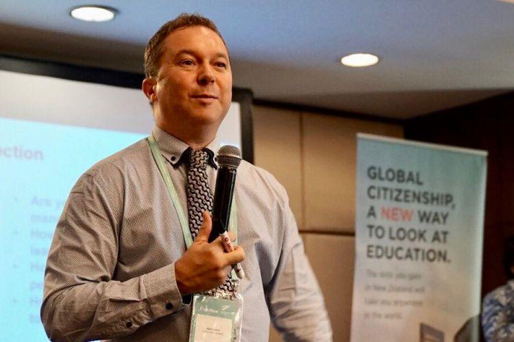 Matt Carter dari Otago Polytechnic New Zealand menjelaskan 4 pilar penting dalam pendidikan kepada para kepala sekolah yang hadir dalam pelatihan Education New Zealand (7/5/2018)