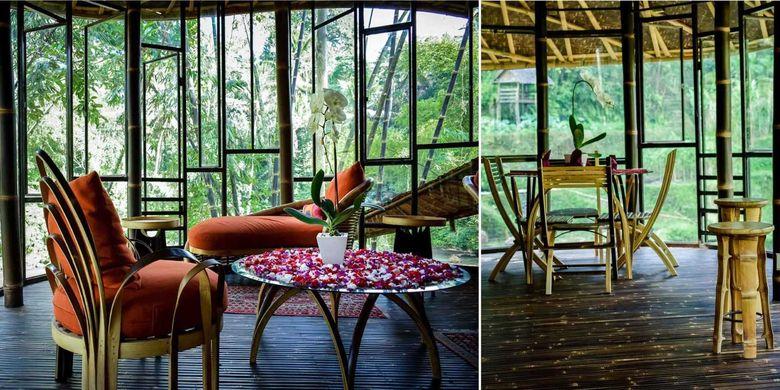 Ruang keluarga berinterior bambu yang menyajikan pemandangan 220.0