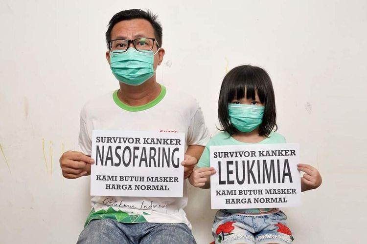 Susanto Tan (46) dan Celine (6), ayah dan anak penyintas kanker ini butuh masker dengan harga normal.