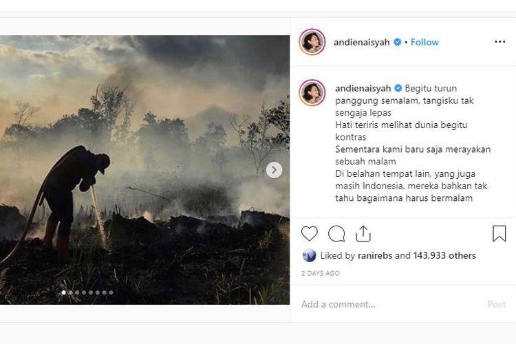 Keprihatinan Andien pada kebakaran hutan dan lahan di Riau.