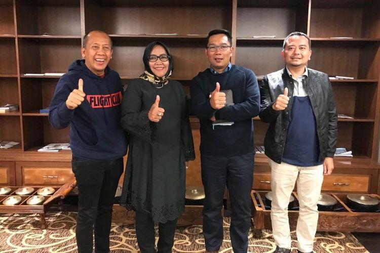 Ridwan Kamil saat menggelar pertemuan bersama Ketua DPW Partai NasDem, Saan Mustopa, Ketua DPW PPP Ade Munawaroh dan Ketua DPW PKB Saiful Huda.
