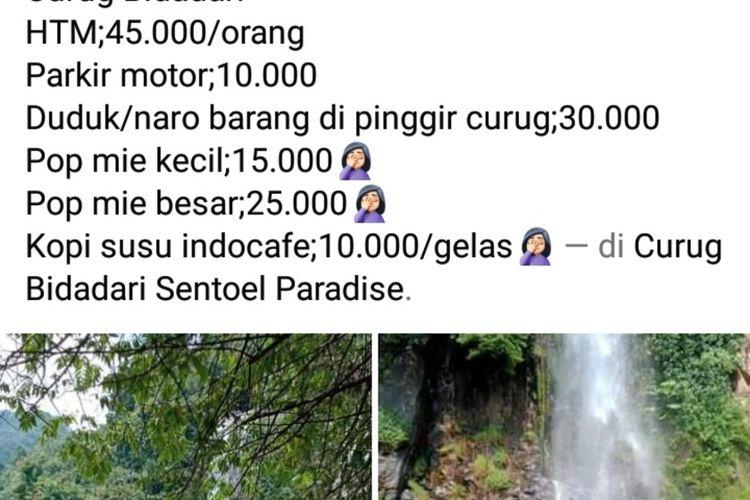 tangkapan layar foto viral biaya masuk Curug Bidadari di kawasan Sentul, Kecamatan Babakan Madang, Kabupaten Bogor, Jawa Barat.