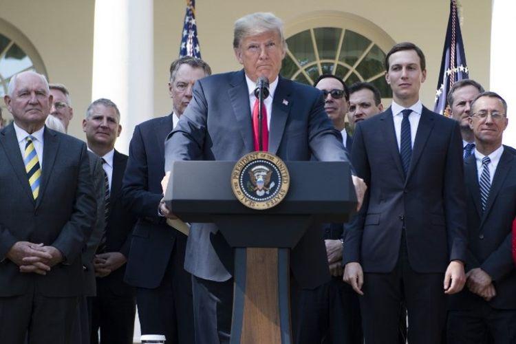 Presiden Amerika Serika Donald Trump saat konferensi pers di Rose Garden, Gedung Putih, Washington DC pada Senin (1/10/2018). (AFP/Jim Watson)