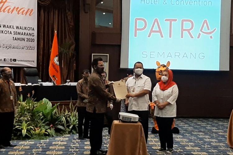 Hendrar Prihadidan Hevearita Gunaryanti Rahayu resmi mendaftar sebagai pasangan calon wali kota dan wakil wali kota Semarang ke Komisi Pemilihan Umum Kota Semarang.