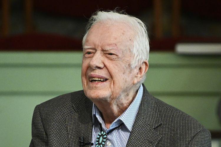 Dalam file foto 3 November 2019 ini, mantan Presiden Jimmy Carter mengajar sekolah Minggu di Gereja Baptis Maranatha di Plains, Georgia, Amerika Serikat.