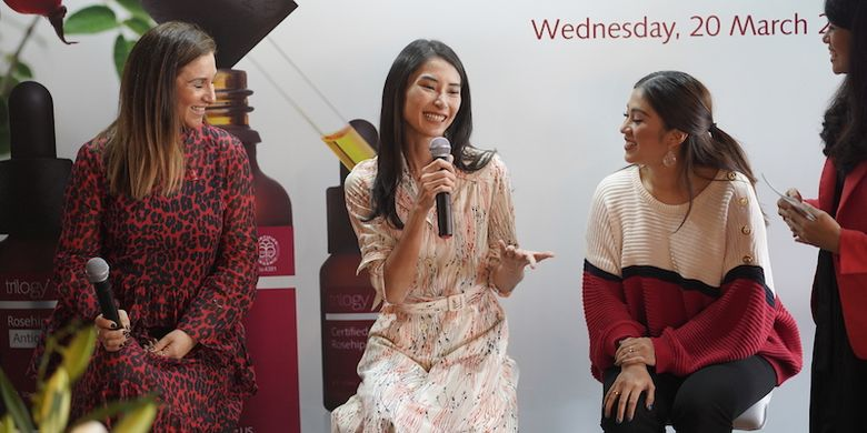 Talkshow peluncuran Trilogy Rosehip Oil di Jakarta (20/3/2019).