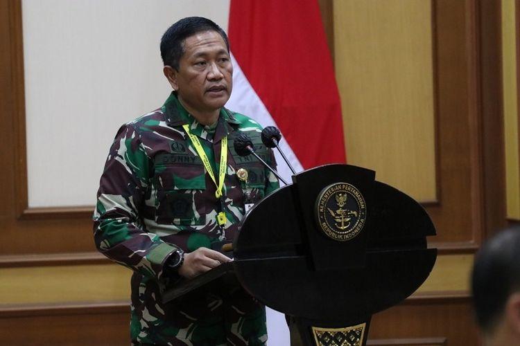 Sekjen Kemhan RI Marsdya TNI Donny Ermawan Taufanto saat membuka Rapim UO Kemhan 2021 di Ruang Rapat Urip Sumoharjo Kemhan, Jakarta, Rabu (27/1/2021).