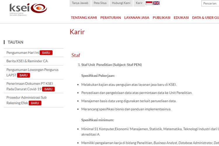 PT Kustodian Sentral Efek Indonesia (KSEI) membuka tiga lowongan kerja untuk lulusan sarjana atau strata 1 (S1) pada Rabu, (16/9/2020).