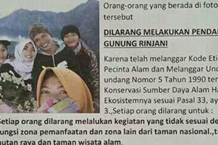 Lima orang yang diduga memetik edelweis dilarang melakukan pendakian oleh Taman Nasional Gunung Rinjani.