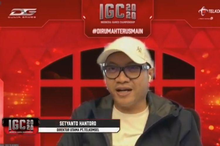 Direktur Utama PT Telkomsel, Setyanto Hantoro, dalam konferensi pers pembukaan babak penyisihan IGC 2020, Senin (24/8/2020).