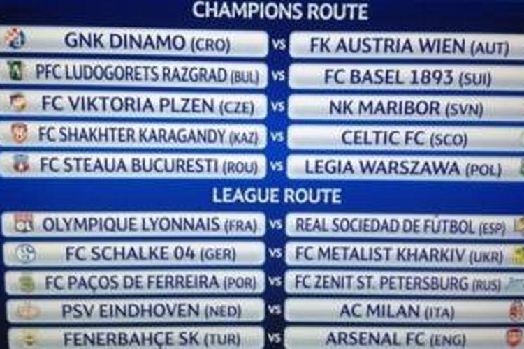 Hasil undian play-off Liga Champions 2013-14.