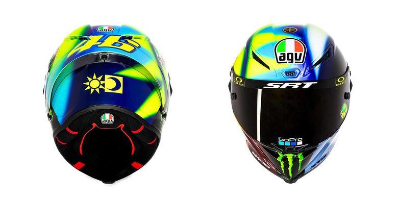 Desain helm Valentino Rossi untuk MotoGP 2021 dengan motif Soleluna terbaru