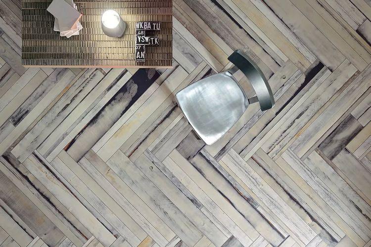 Ilustrasi lantai kayu aksen Herringbone