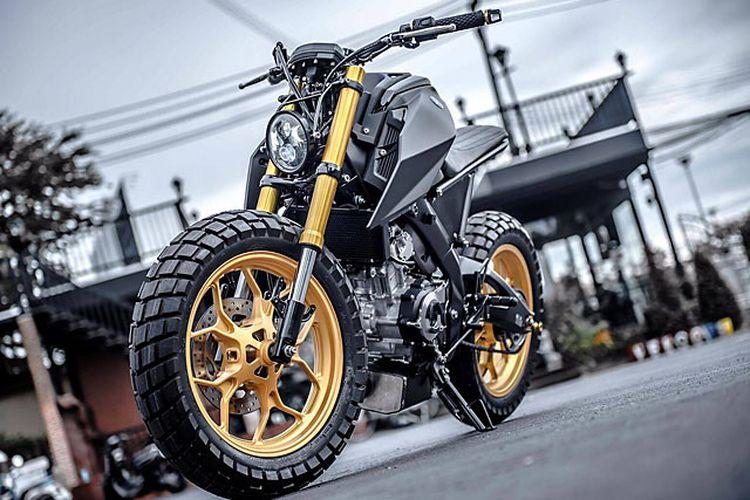 Motor custom Yamaha M-Slaz alias Xabre bergaya modern tracker garapan K-Speed