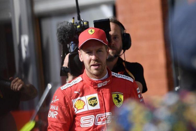 Pebalap Ferrari, Sebastian Vettel, seusai menjalani sesi kualifikasi F1 GP Belgia di Sirkuit Spa-Francorchamps, 31 Agustus 2019.