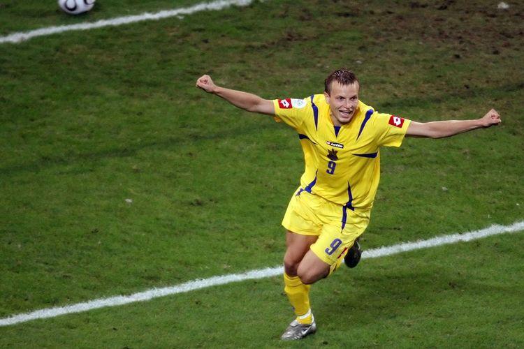 Oleg Gusev merayakan kemenangan Ukraina atas Swiss lewat adu penalti pada partai babak 16 besar Piala Dunia 2006, 26 Juni 2006.