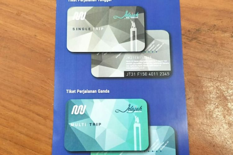 Gambar kartu atau tiket khusus MRT Jakarta yang terdiri dari dua jenis, yakni single trip dan multi trip.