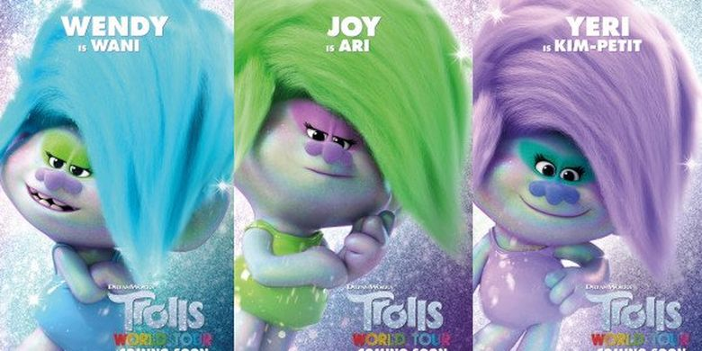 Karakter Red Velvet dalam film Trolls World Tour