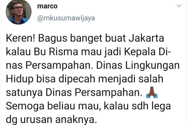 Cuitan Marco Kusumawijaya anggota TGUPP DKI Jakarta yang dinilai Pemkot Surabaya telah menyerang pribadi Wali Kota Surabaya Tri Rismaharini