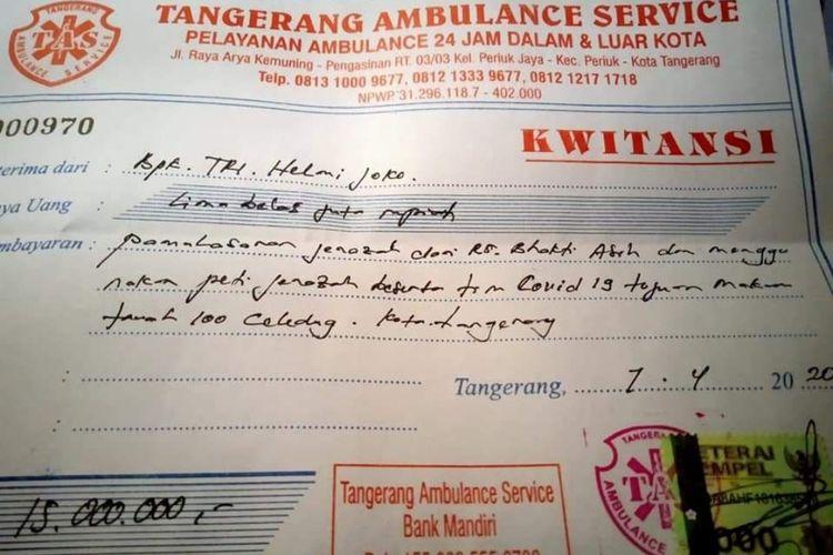 Kwitansi pengurusan jenazah Covid-19 sebesar Rp 15 juta di Kota Tangerang
