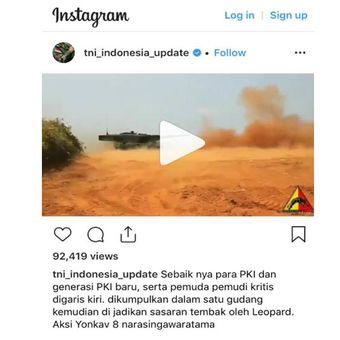 Tangkapan layar akun Instagram @tni_indonesia_update