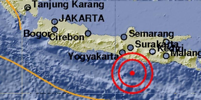 Pusat gempa 5,2 SR pada Minggu (16/3/2014) malam pukul 21.53 WIB.