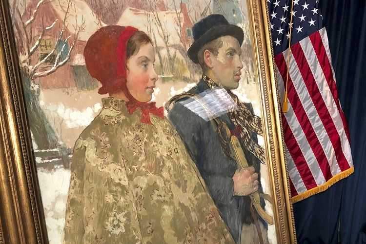 Winter atau Musim Dingin lukisan karya seniman Amerika Gari Melchers, dipajang selama upacara repatriasi, Kamis, 15 Oktober 2020, di Albany, NY dikembalikan ke pemilik aslinya, keluarga Mosse.