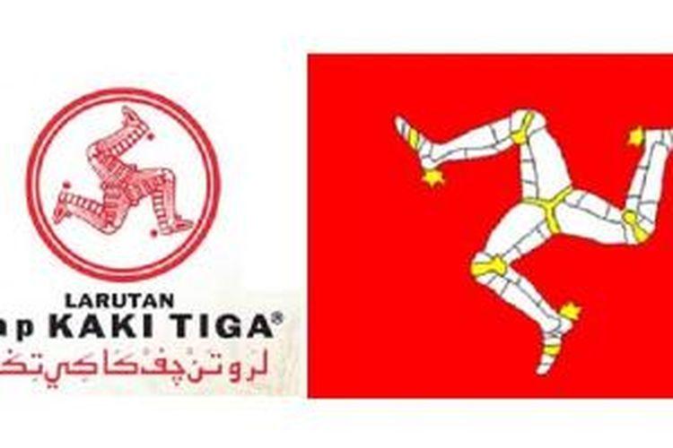 Ilustrasi:  Logo Cap Kaki Tiga dan lambang Negara Isle Of Man