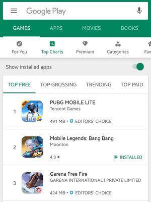 Ilustrasi Top Free Games di platform Play Store. Tampak pada gambar, PUBG Mobile Lite menyabet peringkat pertama mengalahkan Mobile Legends dan Free Fire