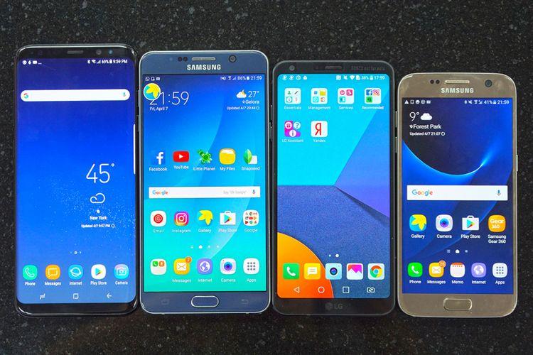 Dari kiri ke kanan: Galaxy S8 Plus, Galaxy Note 5, LG G6, dan Galaxy S7 dalam video perbandingan KompasTekno.