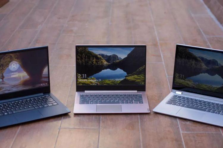 Ilustrasi tiga laptop IdeaPad baru dari Lenovo