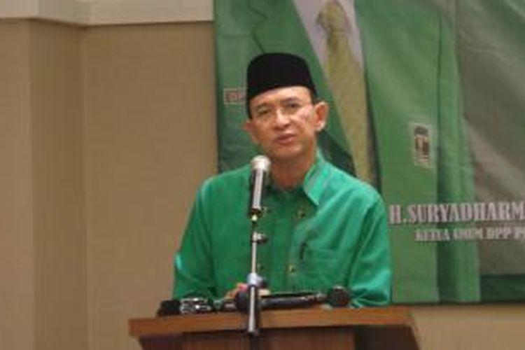 Ketua Umum DPP PPP Suryadharma Ali saat membuka Rapimnas II PPP di Jakarta, Sabtu (10/5/2014).