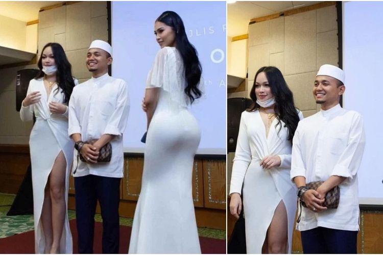 Ustaz Amin (tengah) dikecam netizen Malaysia karena berfoto dengan selebgram seksi di acara peluncuran produk kosmetik.