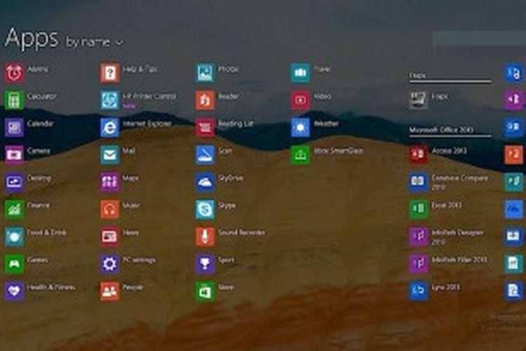 Tampilan All Apps di Windows 8.1