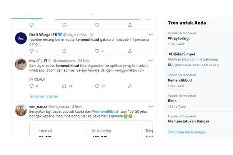 Kemdikbud trending di Twitter, warganet keluhkan kuota belajar