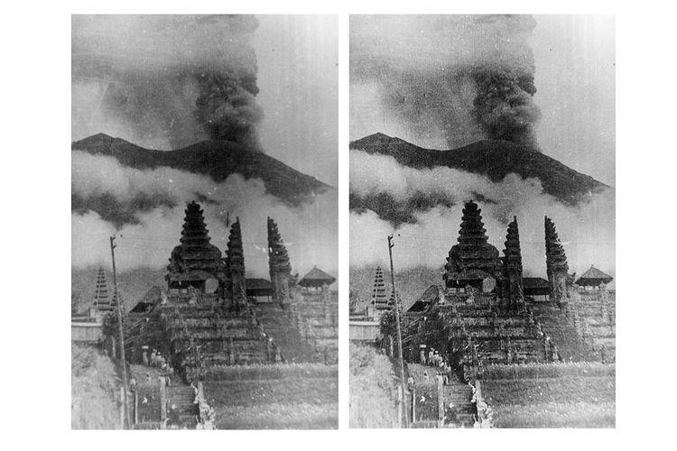 Gunung Agung saat meletus, dilihat dari arah Pura Besakih, di lereng selatan. Persis pada letusan Gunung Agung tahun 1963 itu, masyarakat setempat merayakan upacara Eka Dasa Rudra.