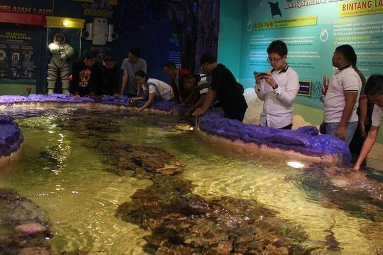 Para pengunjung mencoba menyentuh aneka hayati laut dari anak ikan hiu hingga bintang laut di area Touch Pond, Trans Studio Bandung, Sabtu (19/12/2015).