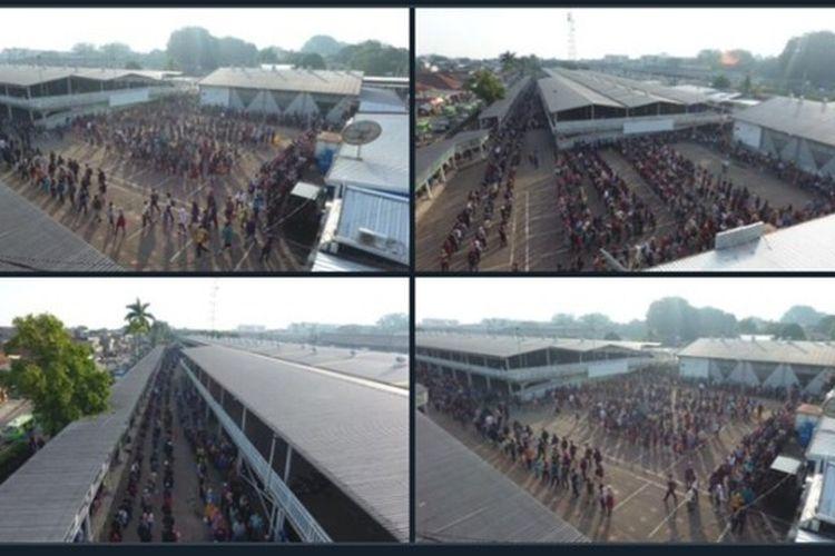 PT KCI memposting informasi soal kondisi antrean penumpang KRL di Stasiun Bogor yang kembali padat, Senin (6/7/2020).