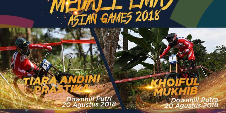 Atlet balap sepeda downhill putri, Tiara Andini Prastika, dan atlet downhill putra Khoiful Mukhib, meraih medali emas pada Asian Games 2018.