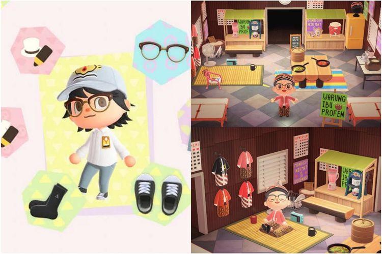 Baju SMA bikinan Rizky (kiri) dan warung khas Jawa bikinan Brian (kanan) di game Animal Crossing.