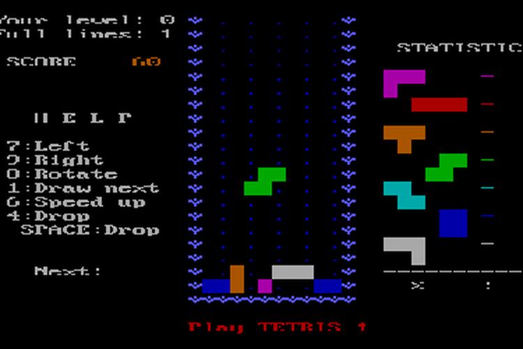 Tangkapan layar dari tetris versi IBM PC tahun 1986 dikembangkan oleh Dmitry Pavlovsky dan Vadim Gerasimov